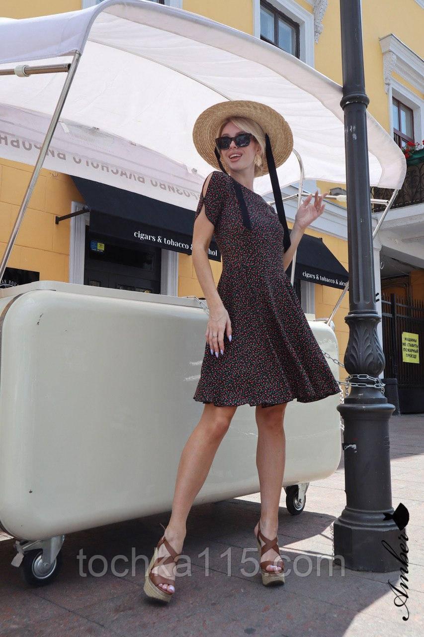 Красивое легкое платье, ткань штапель, S/M/L, цвет темно-синий с розовыми цветочками