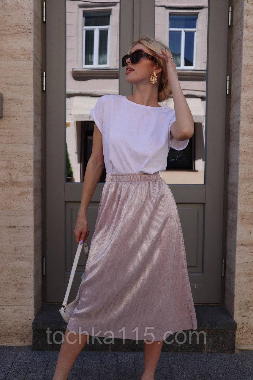Стильная легкая юбка, ткань флисе жатка, 42-46 р, цвет пудра