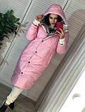 Трендовый женский двухсторонний пуховик, 42-48р, цвет розовый/мокко, фото 7