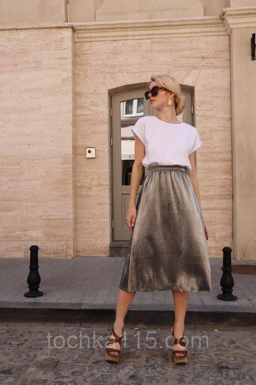 Стильная легкая юбка, ткань флисе жатка, 42-46 р, цвет черный