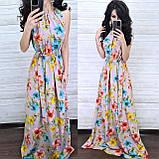 Нежное стильное платье, ткань софт, 42-44, 46-48 рр, цвет белый принт цветок, фото 2
