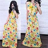 Нежное стильное платье, ткань софт, 42-44, 46-48 рр, цвет белый принт цветок, фото 3