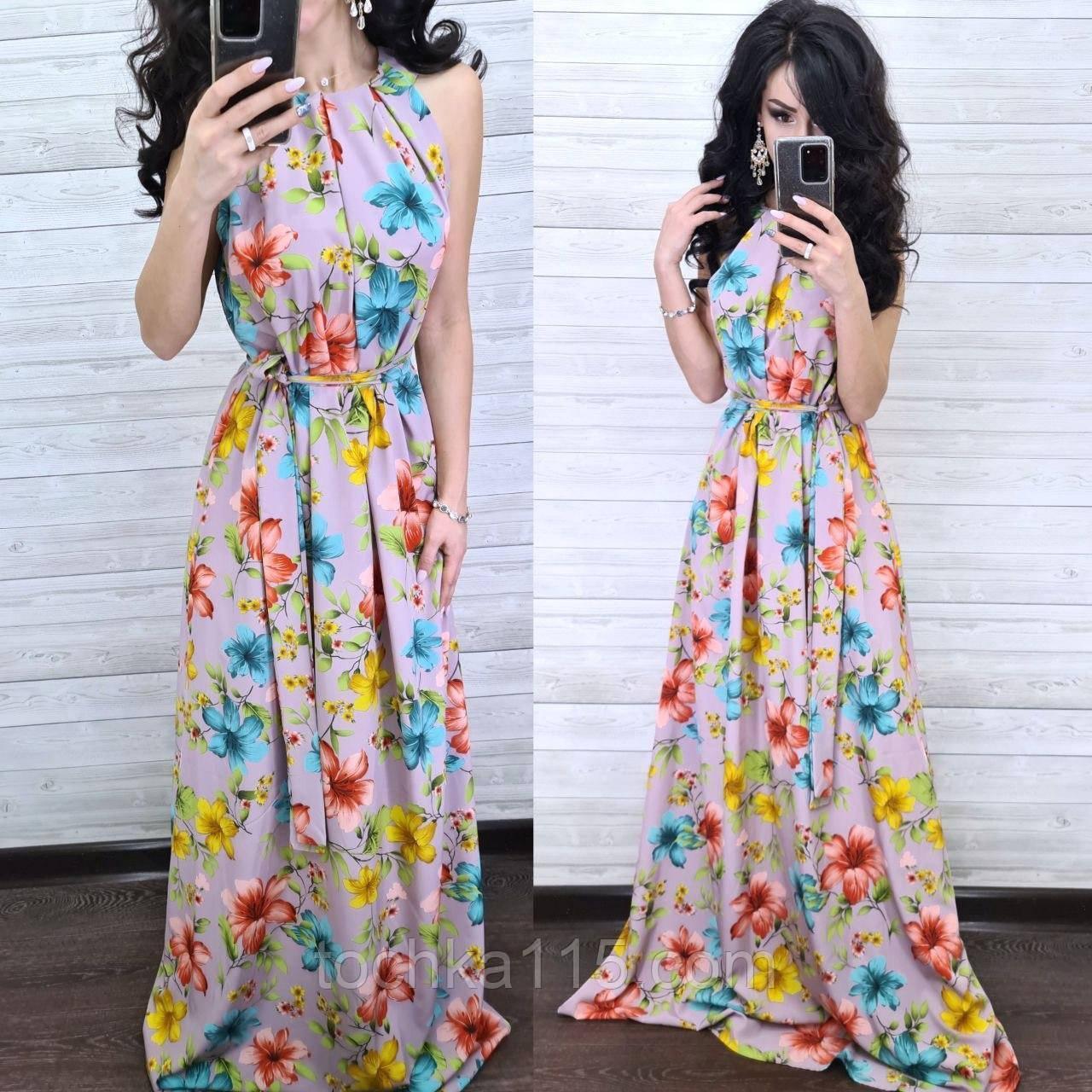 Стильное платье, ткань софт, 42-44, 46-48 рр, цвет сирень принт цветок