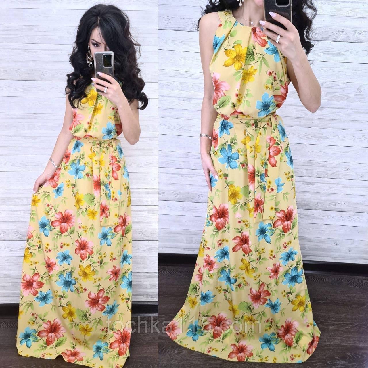 Стильное платье, ткань софт, 42-44, 46-48 рр, цвет желтый принт цветок