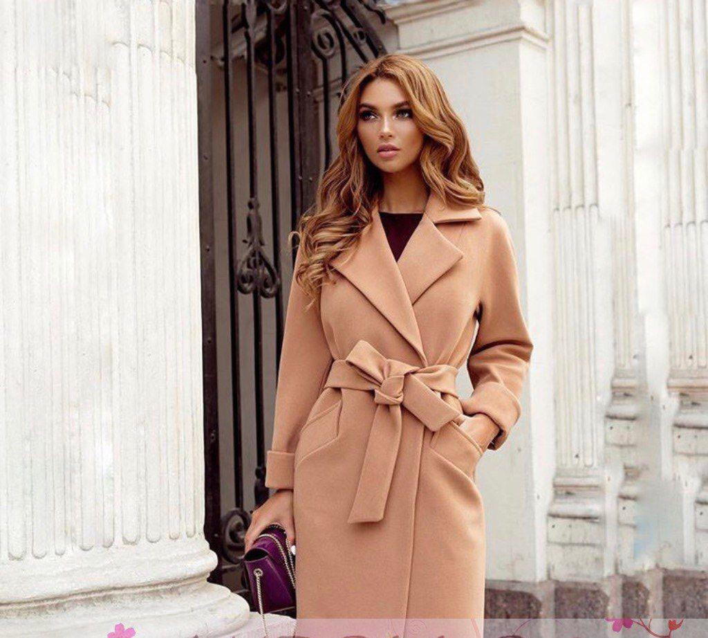 Пальто до колена с поясом и карманами кашемир