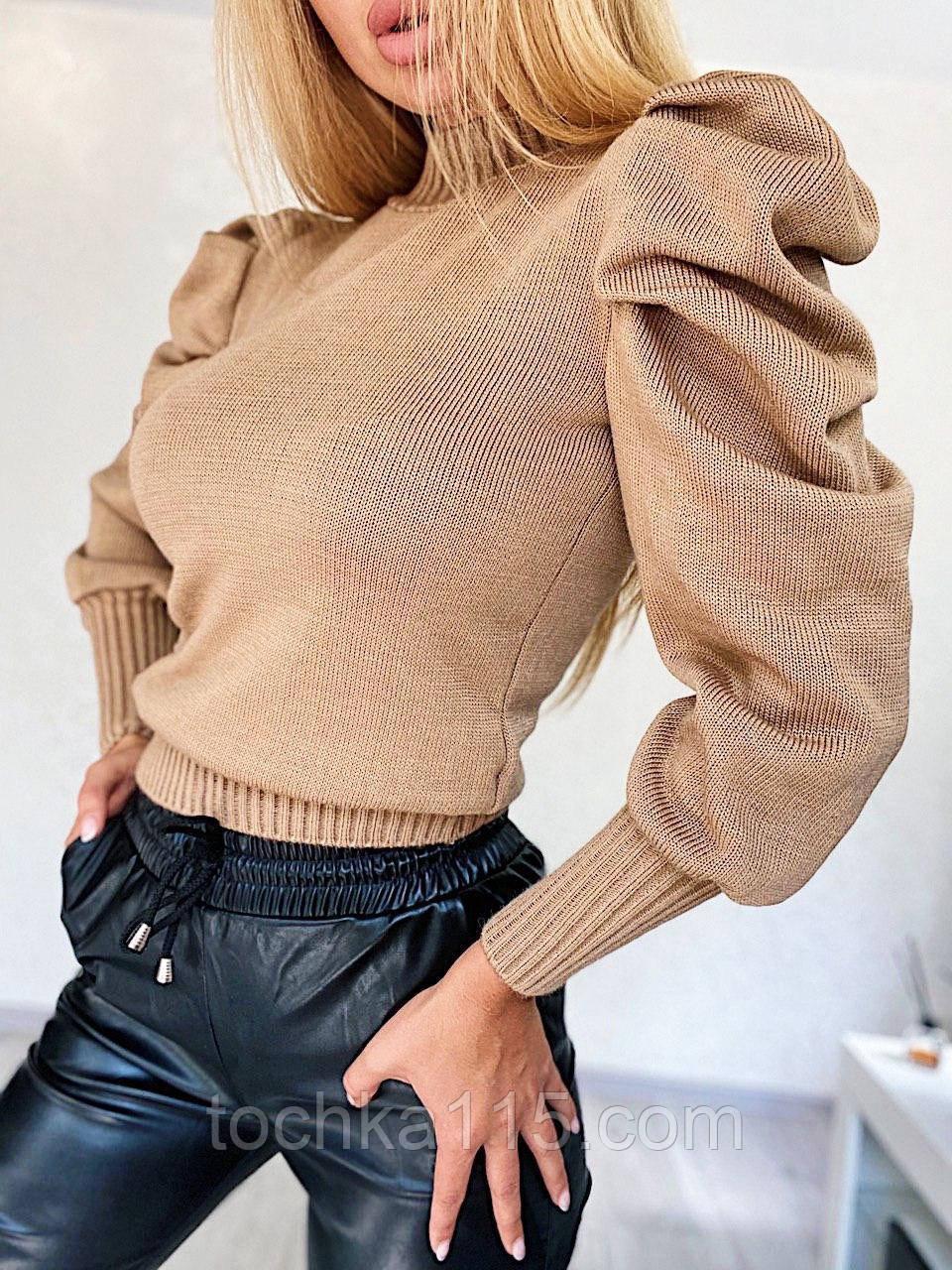 Нежный свитерок из тонкой шерстяной пряжи с объемными рукавами, 42-46 р, кэмел