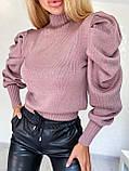 Нежный свитерок из тонкой шерстяной пряжи с объемными рукавами, 42-46 р, кэмел, фото 2