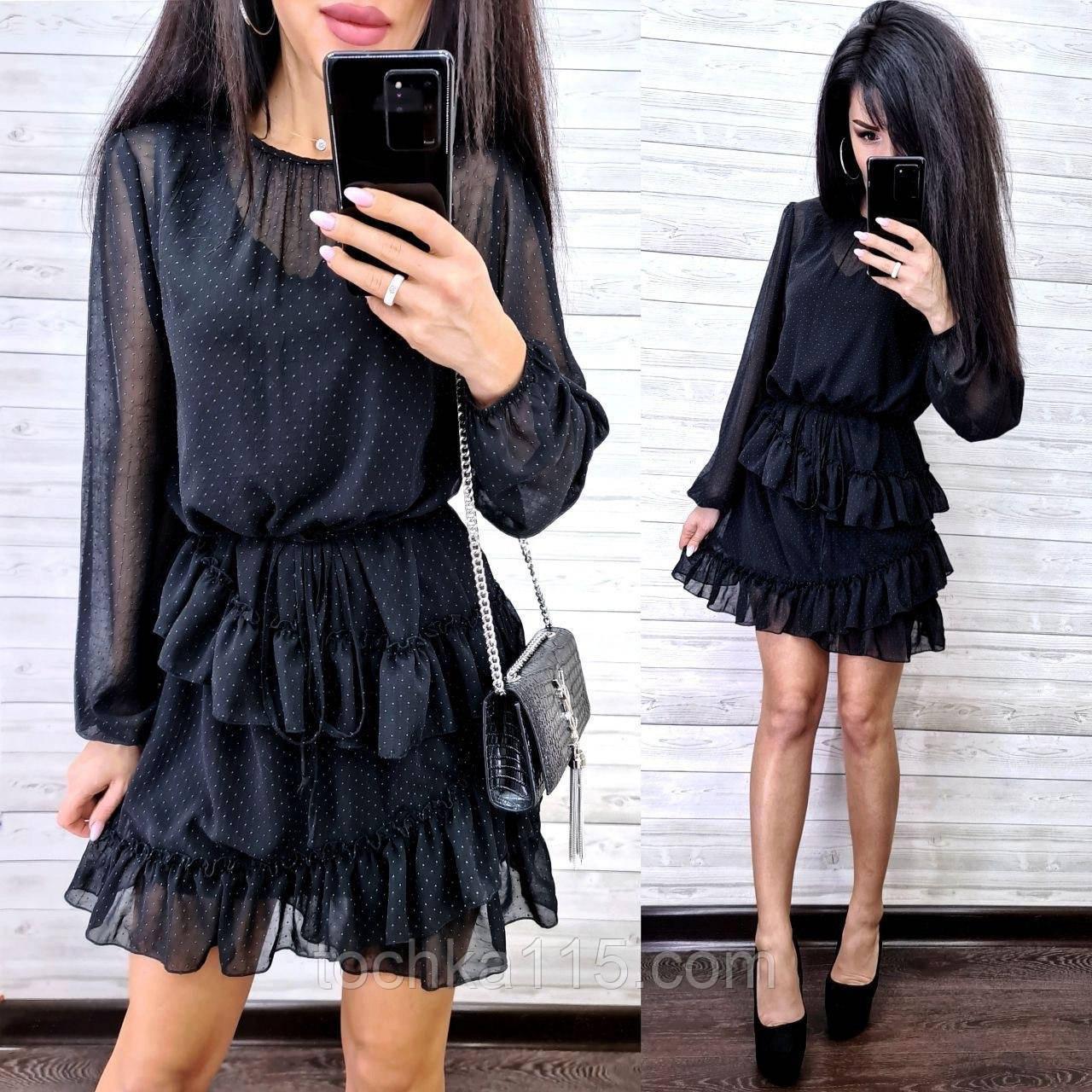 Классическое нежное платье, ткань шифон, 42-44, 46-48 рр, черный