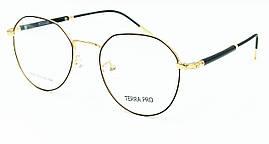 Оправа ободковая стильная, необычной формы, из тонкого чёрного с золотым, металла, унисекс, Terra Pro