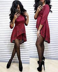 Платье мини с необычной баской и рукавами