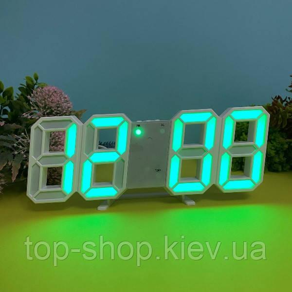 Электронные настольные LED часы с будильником и термометром VST 6802 Зелёный
