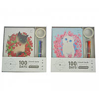 """Набор из недатированного ежедневника, ручки 6 цветов, маркерной ленты """"Kitty Garden"""" 18,5х12,5см, линия, на"""
