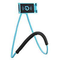 """Держатель для телефона на шею Apple горизонтальный, синий, от 4"""" до 8"""", пластик, обзор 180°, держатель для"""