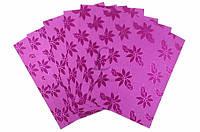 Универсальный картон голографический Pilea цена за 10шт, малиновый с цветами, 29,7х21см, плотность:250 г/м2,
