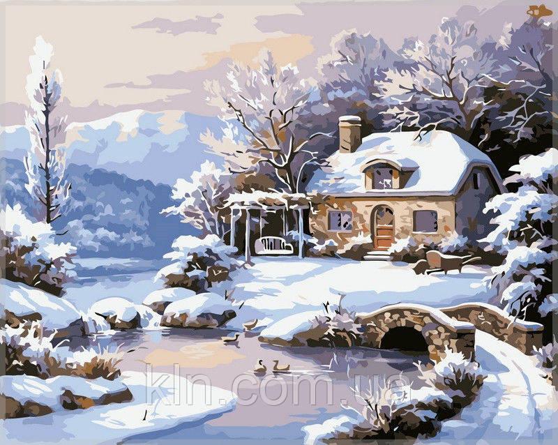Картина по номерам Babylon Зимний дом у реки VP208 40 х 50 см