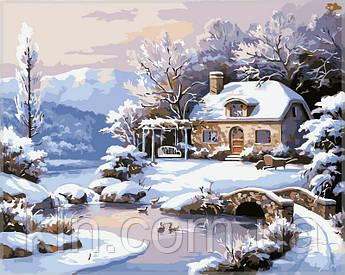 Картина за номерами Babylon Зимовий будинок біля річки VP208 40 х 50 см