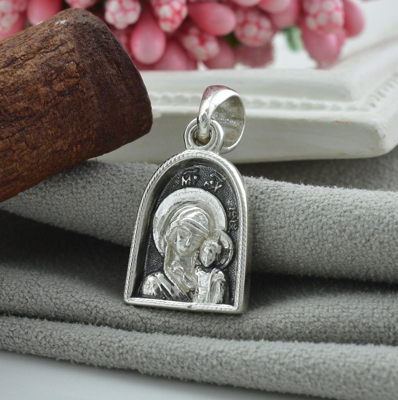 Серебряная иконка с чернением Богородица размер 26х13 мм вес 4.13 г