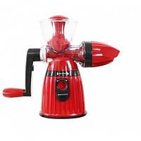 Соковыжималка ручная Hand Juicer Ice Cream пластик, красная, размер 27х14см, две насадки, емкость для сока,