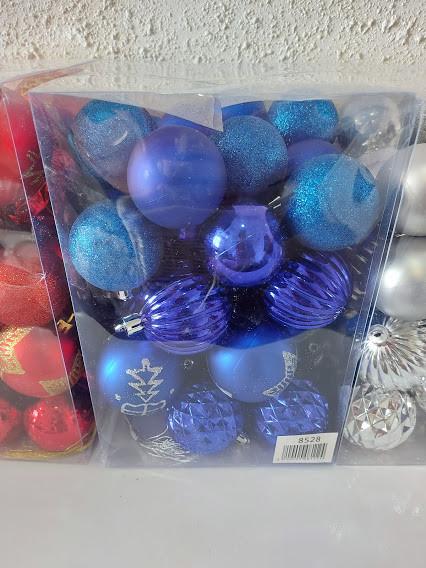 Елочные шарики 5-6см 36шт в коробке СИНИЕ