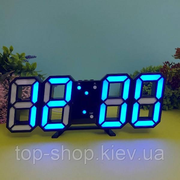 Электронные настольные LED часы 6802 с будильником и термометром Синий