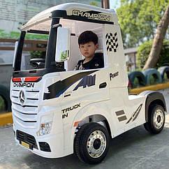 Детский электромобиль Грузовик M 4208 EBLR-1, Mercedes Actros, кожаное сиденье, EVA колеса, белый