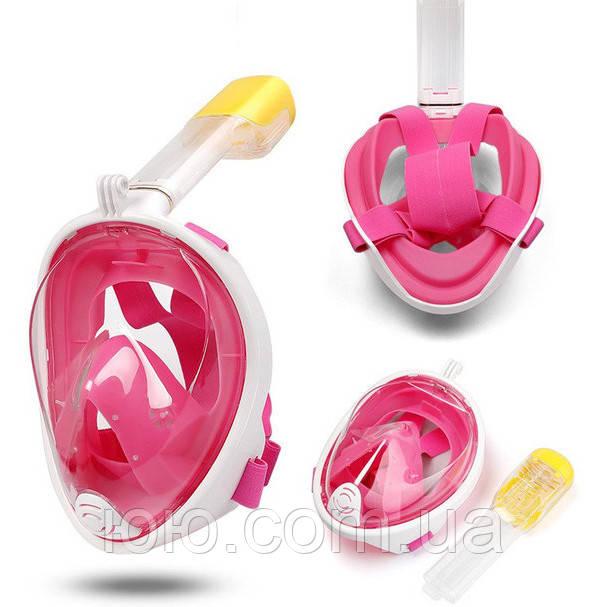 Полнолицевая панорамная маска для плавания снорклинга Розовая  (размер L XL) с креплением для камеры Pink