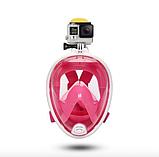 Полнолицевая панорамная маска для плавания снорклинга Розовая  (размер L XL) с креплением для камеры Pink, фото 3