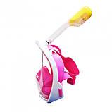 Полнолицевая панорамная маска для плавания снорклинга Розовая  (размер L XL) с креплением для камеры Pink, фото 5