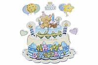Набор декоративных наклеек Happy Birthday blue цена за 1 шт, разные цвета, 22х16см, маленькая 7х7см, наклейки,
