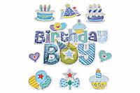 Набор декоративных наклеек Birthday boy цена за 1 шт, разные цвета, 22х16см, маленькая 7х7см, наклейки, декор