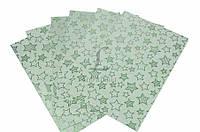 Универсальный картон голографический Littonia цена за 10шт, зеленый со звездочками, 29,7х21см, плотность:250