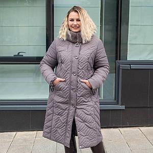 Пальто зимние женские  больших размеров   50-60 темная пудра