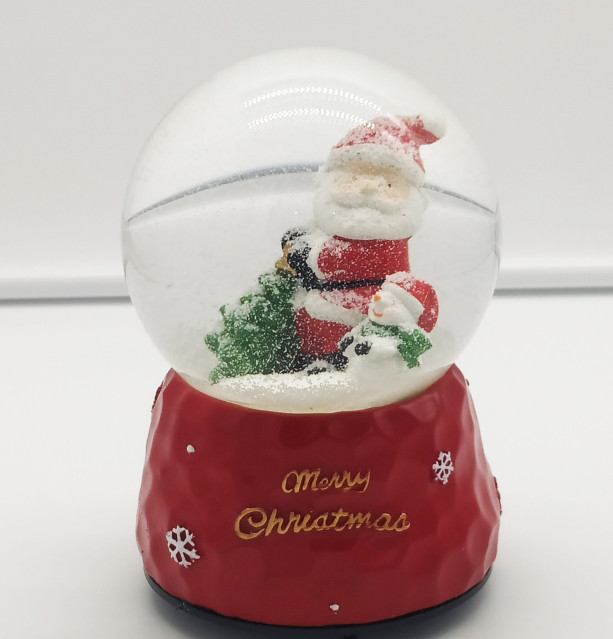 Новогодний шар музыкальный светящийся с автоподдувом снега 07014-1