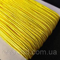 Желтый шнур сутажный плоский 3мм, моток 46м. (657-Л-0264)