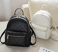 Качественный женский городской рюкзак черный белый рюкзачок Луи Витон реплика эко кожа