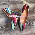 Real shot цветные полосы этнический стиль ретро заостренный мелкий рот 12см10см нестандартный размер высокие каблуки, фото 2