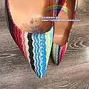 Real shot цветные полосы этнический стиль ретро заостренный мелкий рот 12см10см нестандартный размер высокие каблуки, фото 3