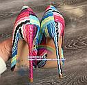 Real shot цветные полосы этнический стиль ретро заостренный мелкий рот 12см10см нестандартный размер высокие каблуки, фото 4