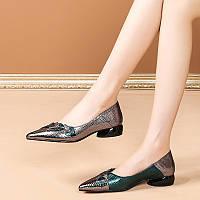 Модные женские туфли на толстом каблуке, весна и осень 2020, новые кожаные туфли, кожаные универсальные туфли на низком каблуке с острым носком на