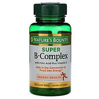 Nature's Bounty, Супер комплекс витаминов В с фолиевой кислотой и витамином С, 150 таблеток