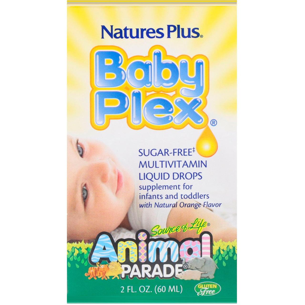 Nature's Plus, Source of Life, Animal Parade, Baby Plex, жидкие мультивитаминные капли без сахара, с натуральным вкусом апельсина, 2 жидкие унции (60