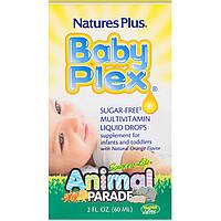 Nature's Plus, Source of Life, Animal Parade, Baby Plex, жидкие мультивитаминные капли без сахара, с натуральным вкусом апельсина, 2 жидкие унции (60, фото 1