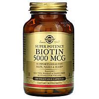 Биотин для волос и кожи Solgar, 5000 мкг, 100 вегетарианских капсул
