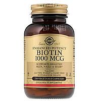 Solgar, Биотин (Biotin), 1000 мкг, 250 растительных капсул