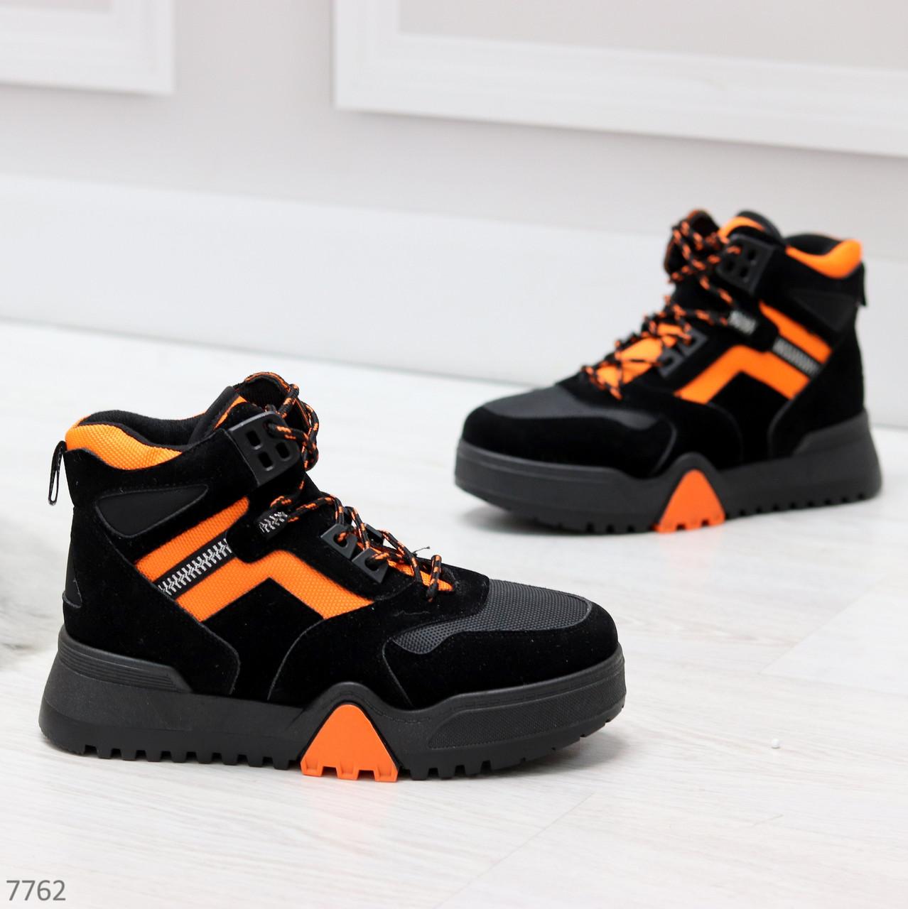 Яркие черные неоновые оранжевые зимние женские кроссовки сникерсы