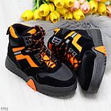 Яркие черные неоновые оранжевые зимние женские кроссовки сникерсы, фото 2