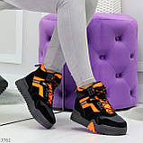 Яркие черные неоновые оранжевые зимние женские кроссовки сникерсы, фото 3