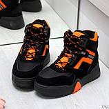 Яркие черные неоновые оранжевые зимние женские кроссовки сникерсы, фото 4