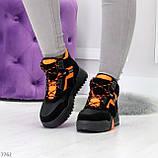 Яркие черные неоновые оранжевые зимние женские кроссовки сникерсы, фото 5