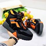 Яркие черные неоновые оранжевые зимние женские кроссовки сникерсы, фото 6